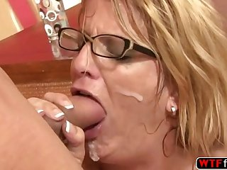Seductive MILF Nina Hartley ass gets slap while she is getting fucked by her ste